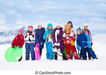 crianças, inverno, junto, exterior, gelado, dia