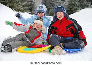crianças, inverno, retrato