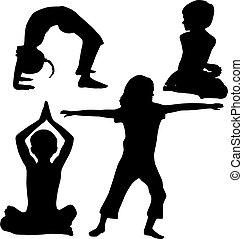 crianças, ioga