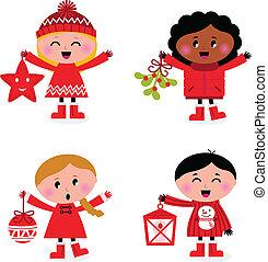 crianças, isolado, cobrança, caroling, christmas branco