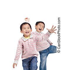 crianças, isolado, rir, fundo, pequeno, branca, asiático