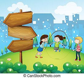 crianças, jardim, madeira, setas, três, tocando
