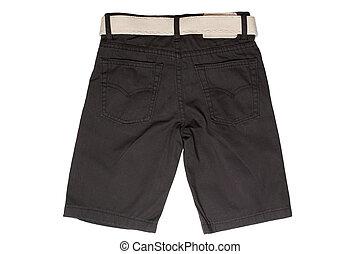 crianças, jean, -, desgaste, shorts