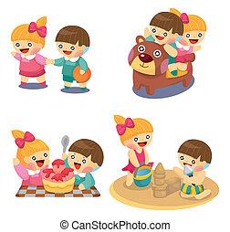 crianças, jogo, caricatura, tocando