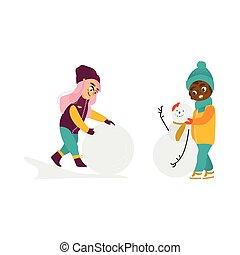 crianças, jogo, inverno, vetorial, ao ar livre, divertimento, tendo
