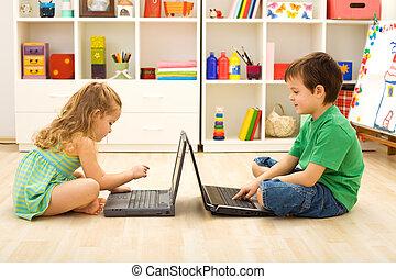 crianças, jogos, tocando, computador