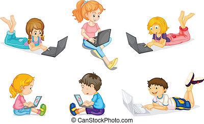 crianças, laptop