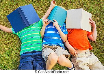 crianças, leitura, livros