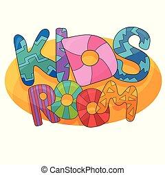 crianças, letras, sala, coloridos, logo., vetorial, playroom, bolha, caricatura, childrens