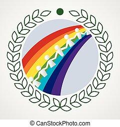 crianças, ligado, arco-íris