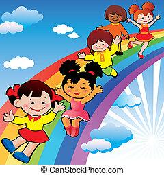 crianças, ligado, arco íris, slide.