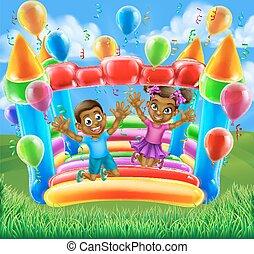 crianças, ligado, bouncy, castelo
