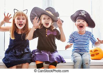 crianças, ligado, dia das bruxas