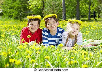 crianças, ligado, gramado