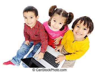 crianças, ligado, laptop