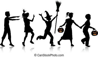 crianças, ligado, noite halloween