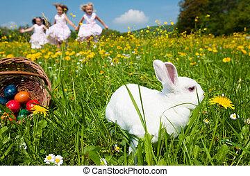 crianças, ligado, páscoa ovo caça, com, coelhinho