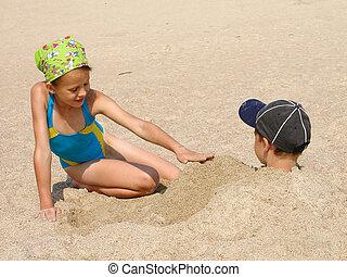 crianças, ligado, praia