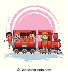 crianças, ligado, trem, caricatura