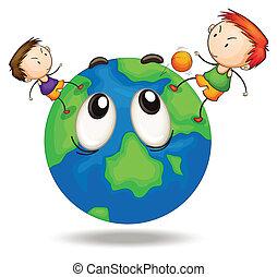 crianças, ligado, um, globo terra