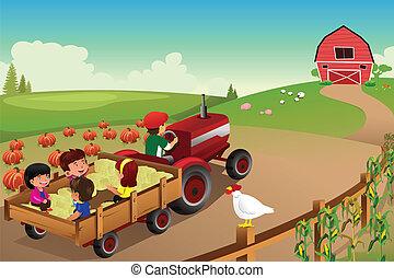 crianças, ligado, um, hayride, em, um, fazenda, durante, estação queda