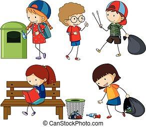 crianças, limpeza, lixo, cima