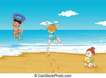 crianças, litoral