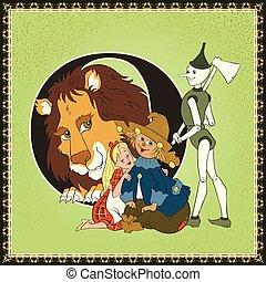 crianças, livro, caricatura, fairytale, alphabet., letra, o., a, maravilhoso, wizard oz, por, lyman, frank, baum