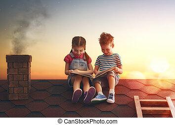 crianças, livro leitura