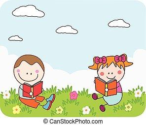 crianças, livro leitura, em, parque
