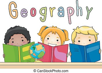 crianças, livros, geografia