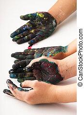 crianças, mãos, coberto, com, pintura
