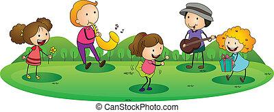 crianças, música, tocando