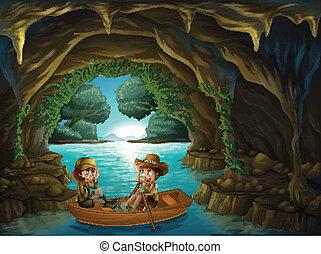 crianças, madeira, caverna, dois, montando, bote