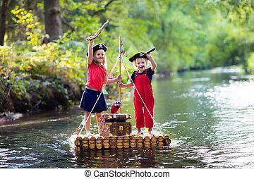 crianças, madeira, pirata, aventura, jangada, tocando