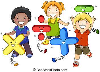 crianças, matemática