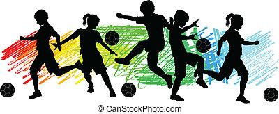 crianças, meninos meninas, futebol, silhouet