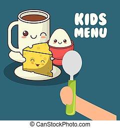 crianças, menu, mão, colher, segurando, pequeno almoço