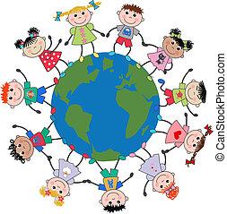 crianças, misturado étnico