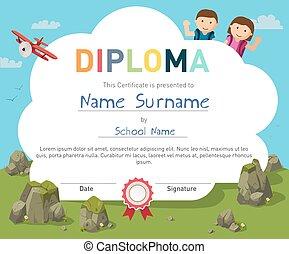 crianças, modelo, certificado, diploma, desenho, fundo