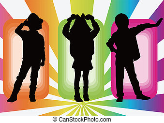 crianças, modelo, pose, silueta
