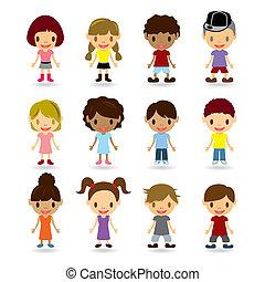 crianças, modelos, jogo
