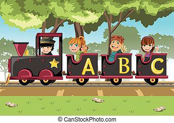 crianças, montando, alfabeto, trem