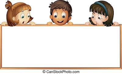 crianças, mostrando, tábua