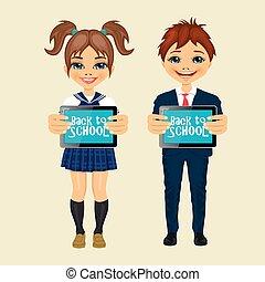 crianças, mostrando, tabela, tela computador, com, apoie escola, mensagem texto
