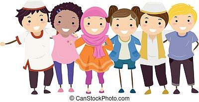 crianças, muçulmano, stickman, non, amigos