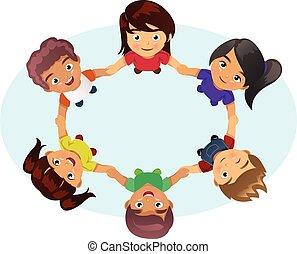 crianças, multi-étnico, segurar passa