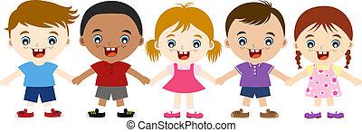 crianças, multicultural, cute