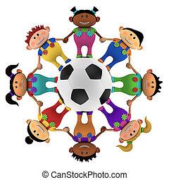 crianças, multiethnic, futebol, ao redor