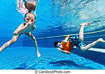 crianças, natação subaquática